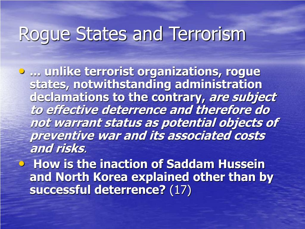 Rogue States and Terrorism