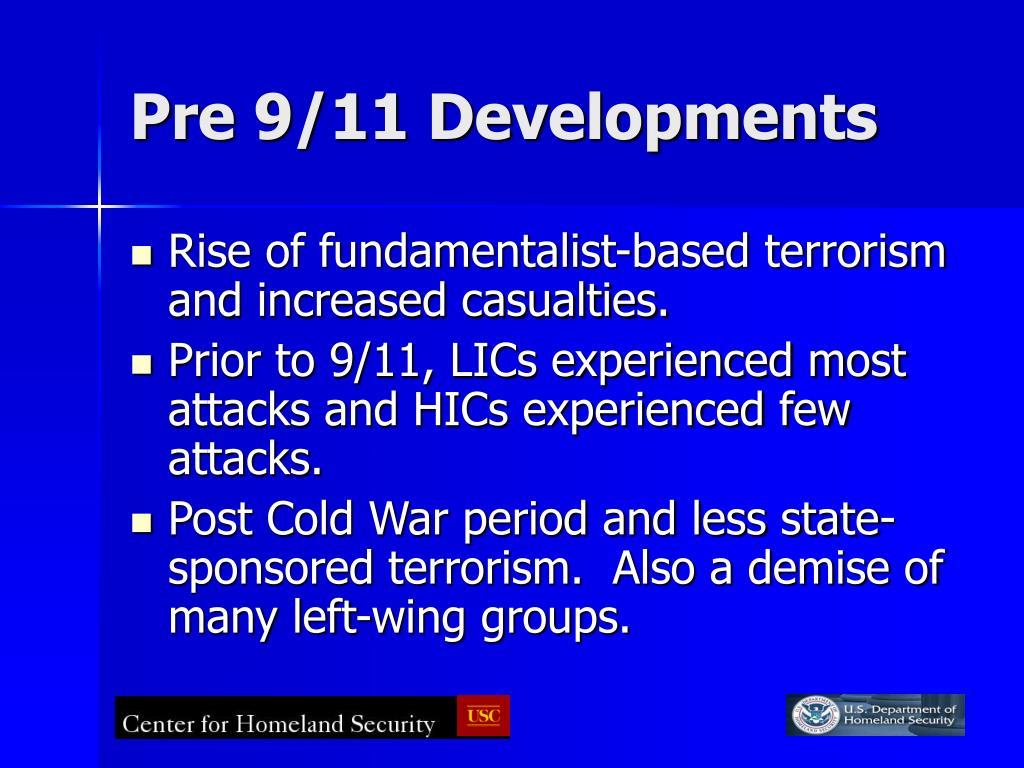 Pre 9/11 Developments