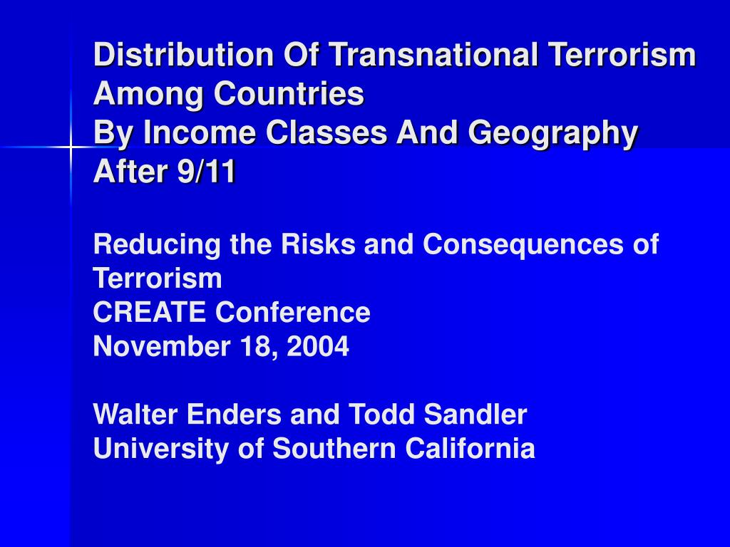 Distribution Of Transnational Terrorism Among Countries