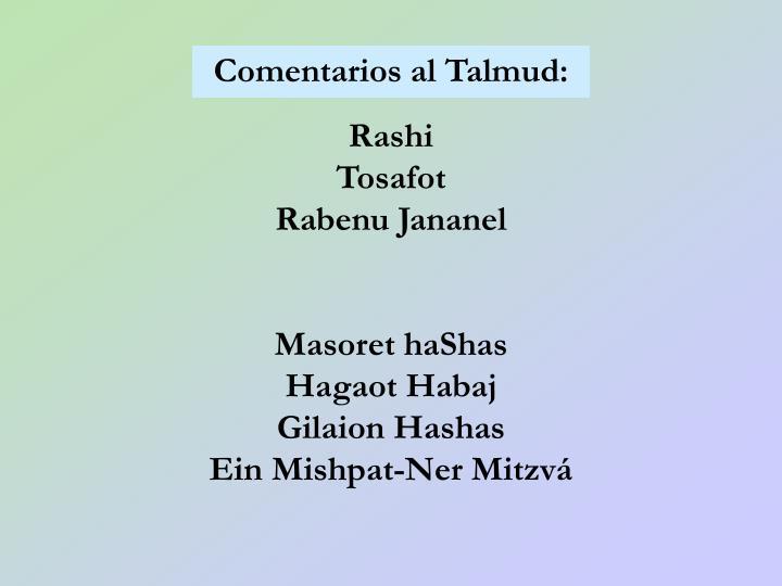 Comentarios al Talmud: