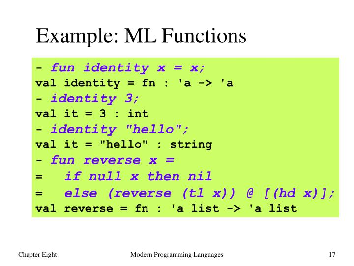 Example: ML Functions