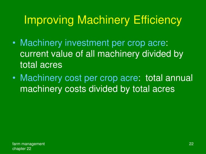 Improving Machinery Efficiency