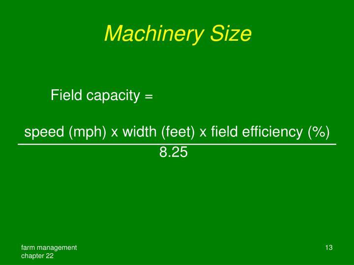 Machinery Size