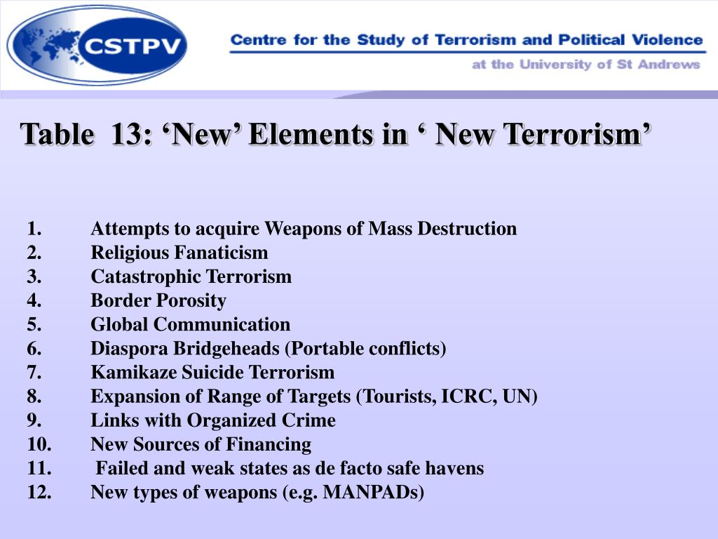 Table  13: 'New' Elements in ' New Terrorism'
