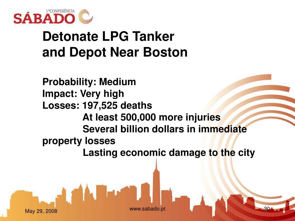 Detonate LPG Tanker and Depot Near Boston