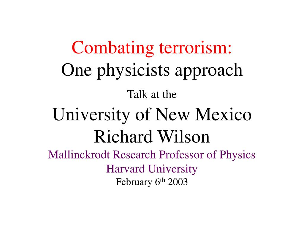 Combating terrorism: