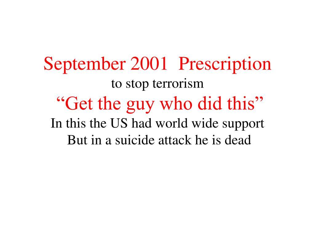September 2001  Prescription
