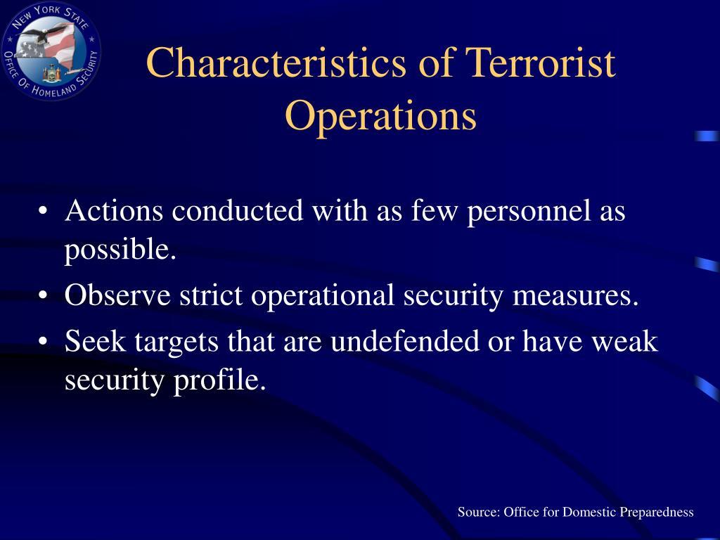 Characteristics of Terrorist