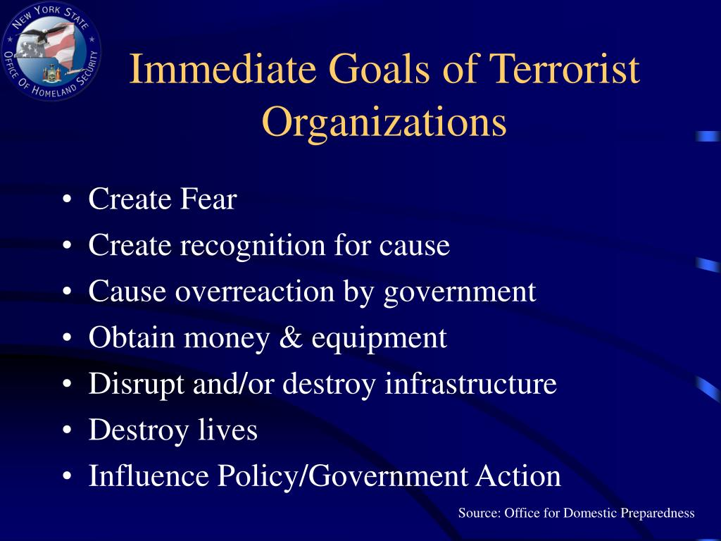 Immediate Goals of Terrorist Organizations