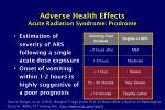 adverse health effects acute radiation syndrome prodrome10