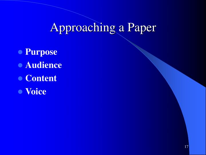 Approaching a Paper