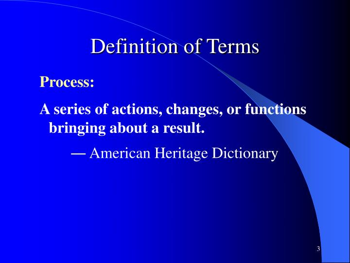Definition of Terms