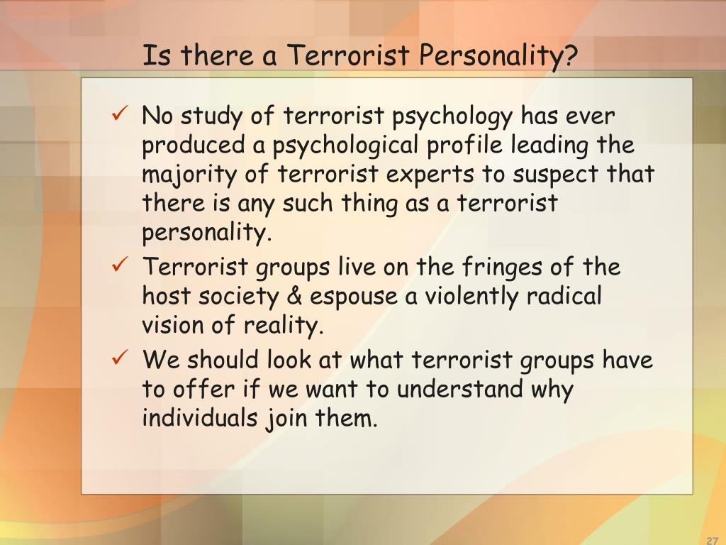 Is there a Terrorist Personality?