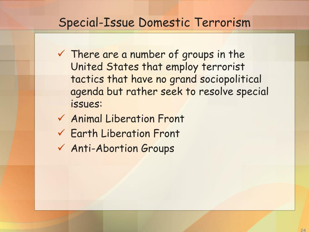 There are a number of groups in the United States that employ terrorist tactics that have no grand sociopolitical agenda but rather seek to resolve special issues: