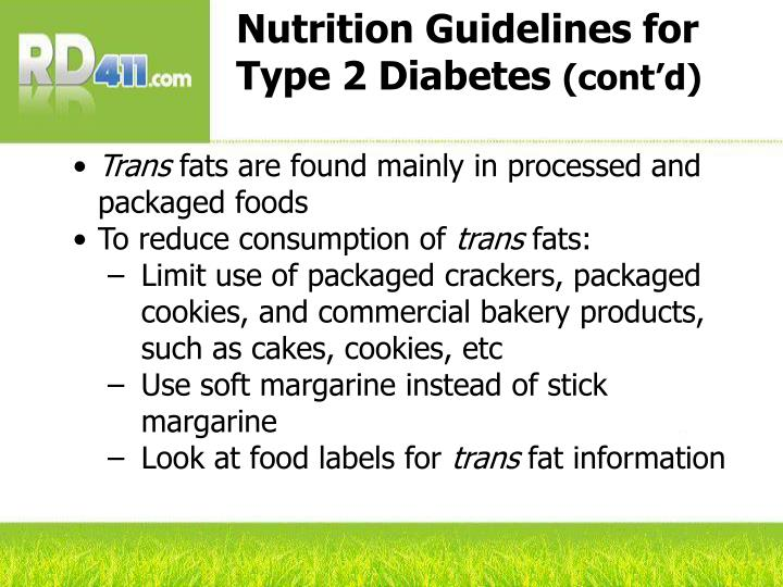 dietary guidelines for diabetes type 2