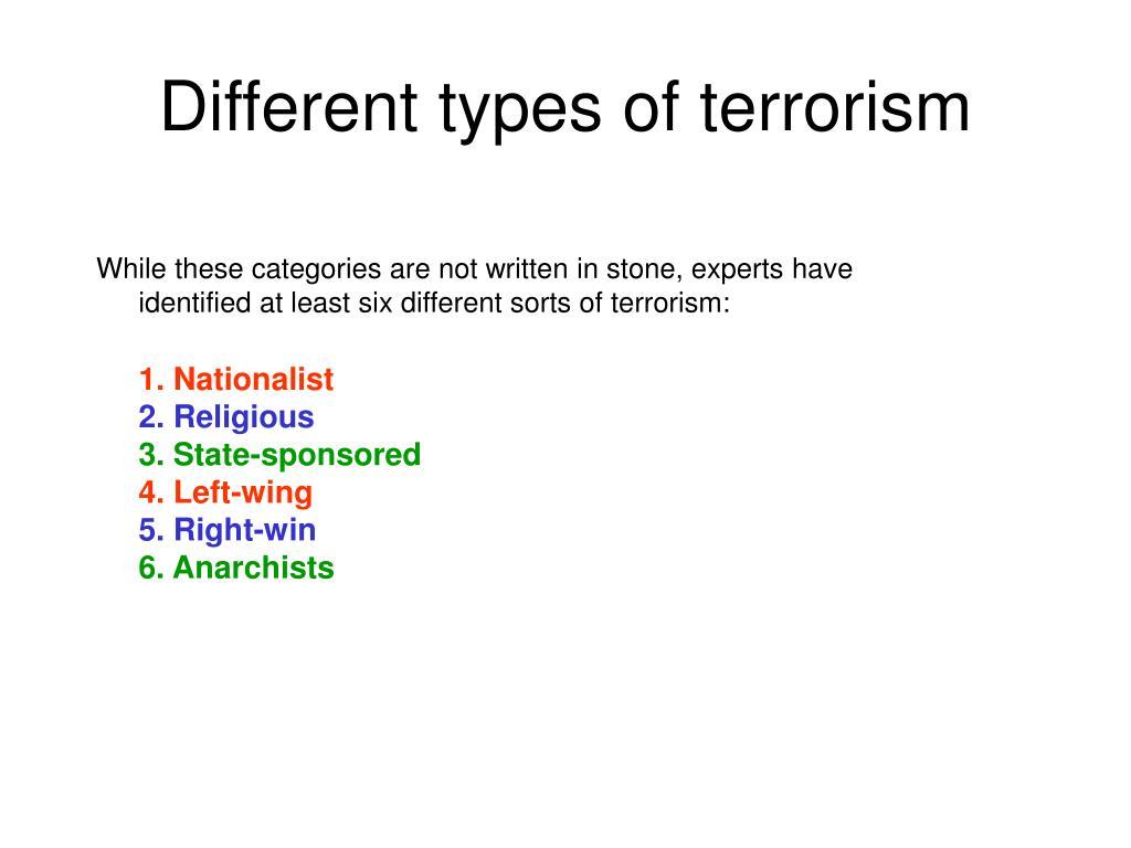 Different types of terrorism