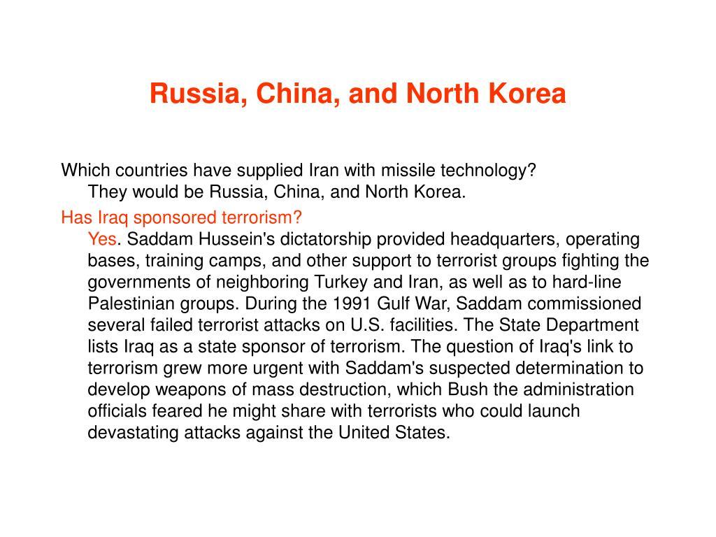 Russia, China, and North Korea