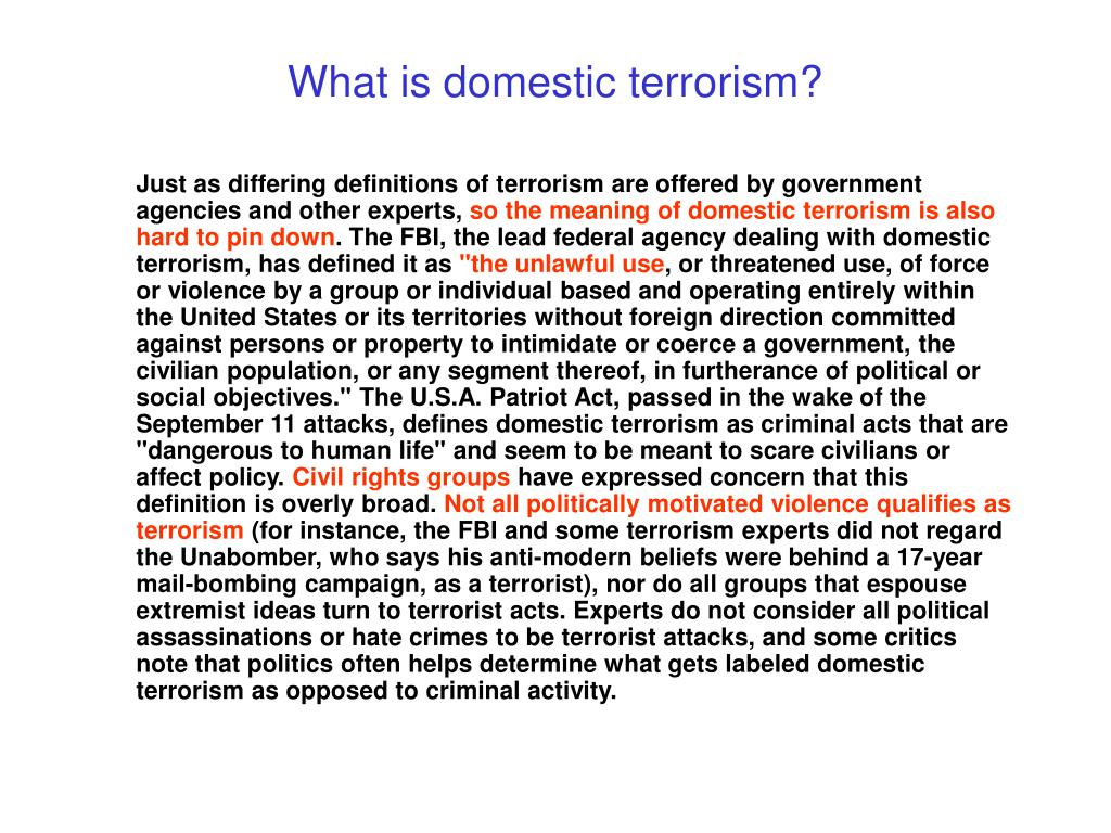 What is domestic terrorism?