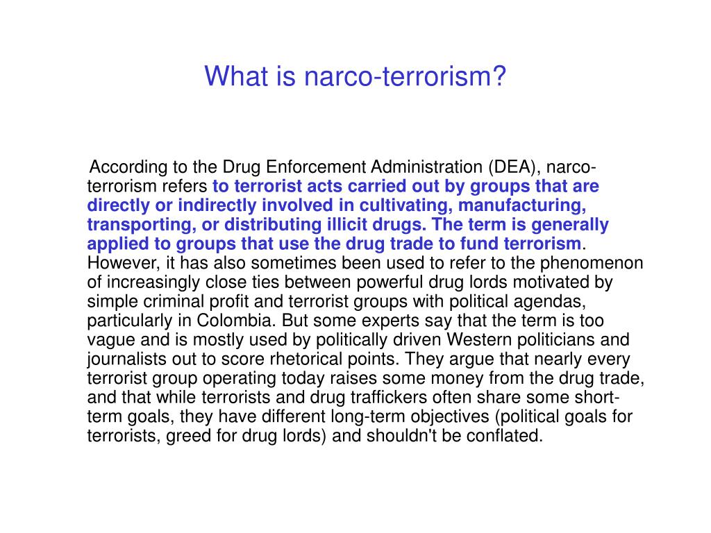 What is narco-terrorism?