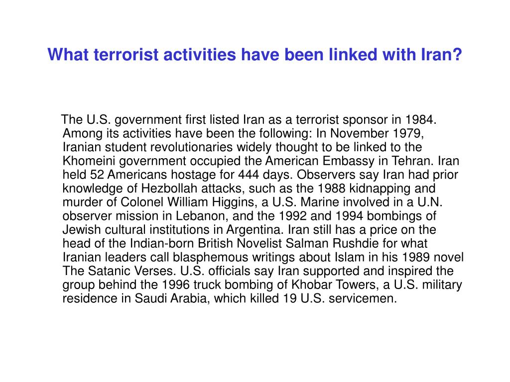 What terrorist activities have been linked with Iran?