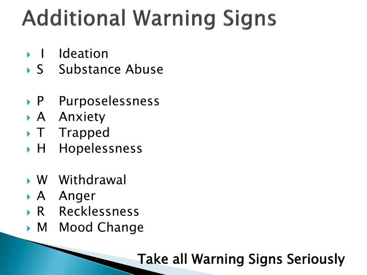 Additional Warning Signs