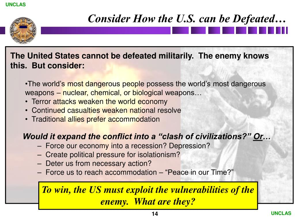 Consider How the U.S. can be Defeated…
