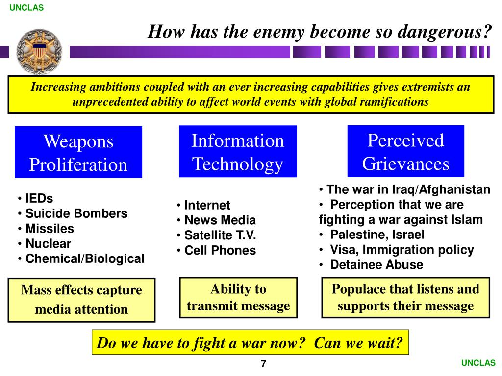 How has the enemy become so dangerous?