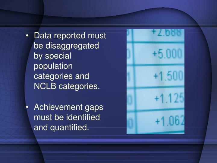 Data reported must be disaggregated by special population categories and NCLB categories.