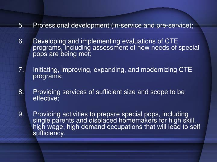 Professional development (in-service and pre-service);