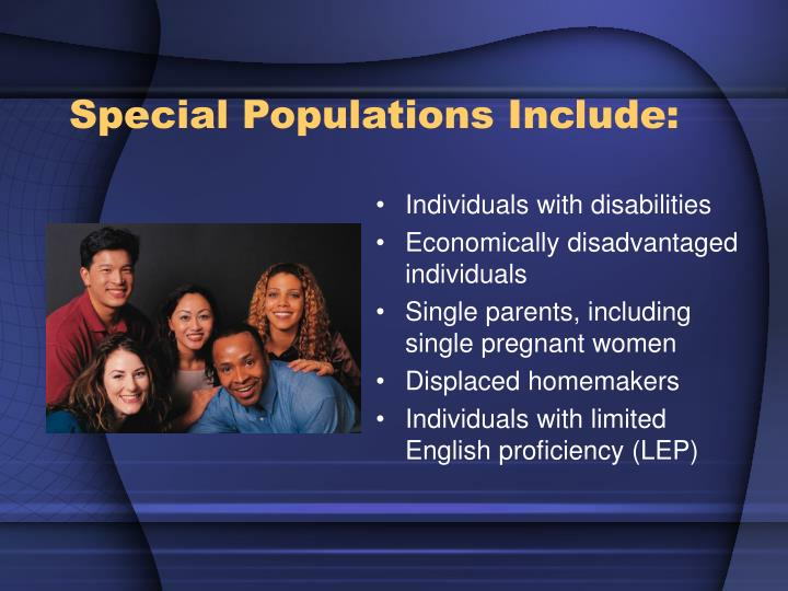 Special Populations Include: