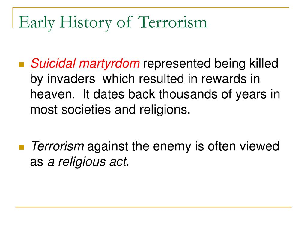 Early History of Terrorism