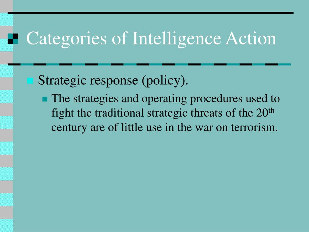 Categories of Intelligence Action