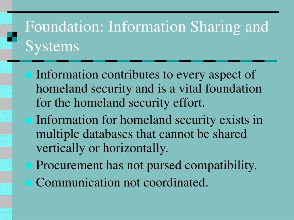Foundation: Information Sharing and Systems