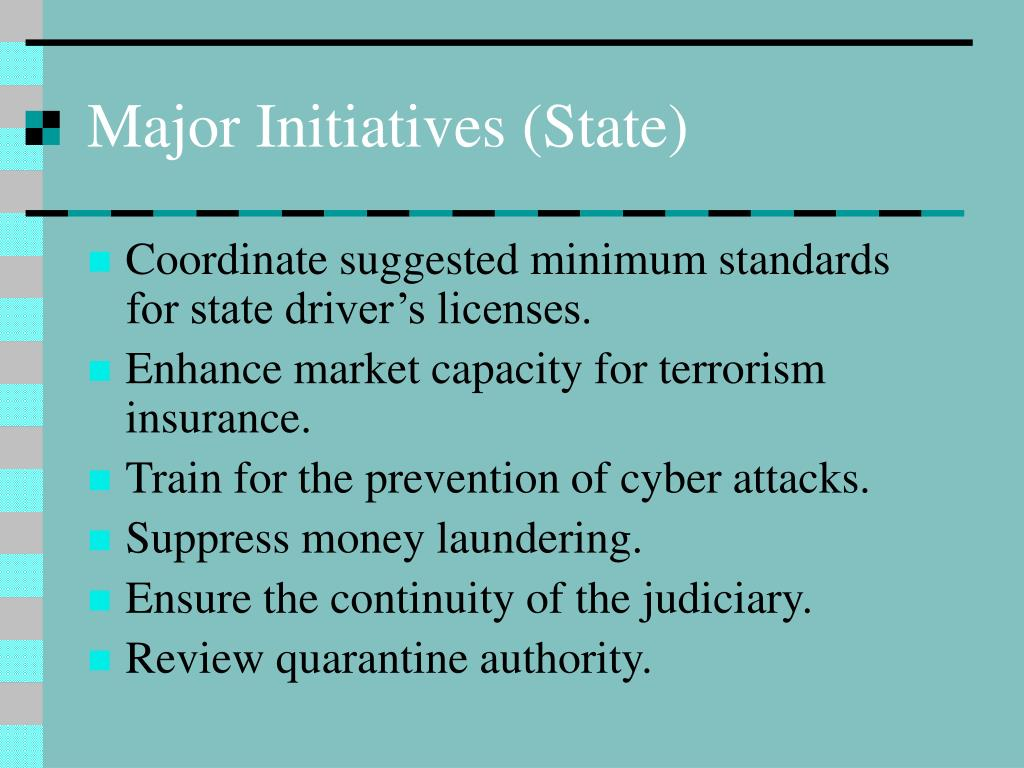 Major Initiatives (State)