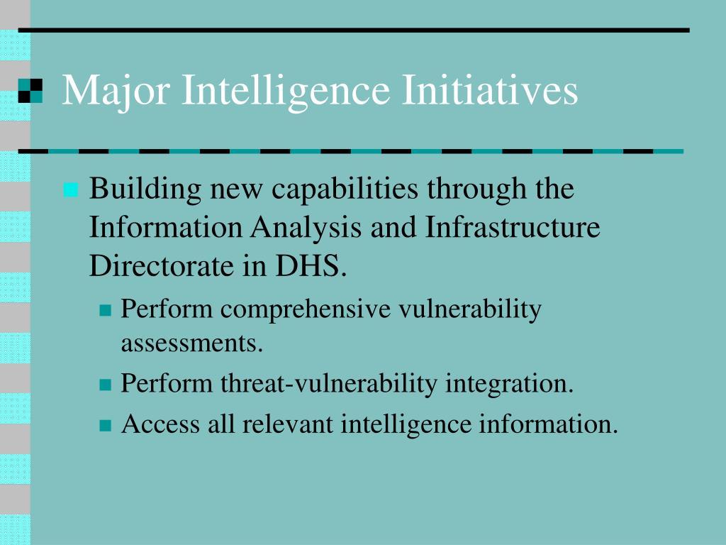 Major Intelligence Initiatives