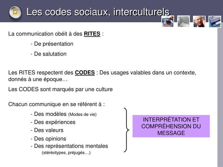 Les codes sociaux, interculturels