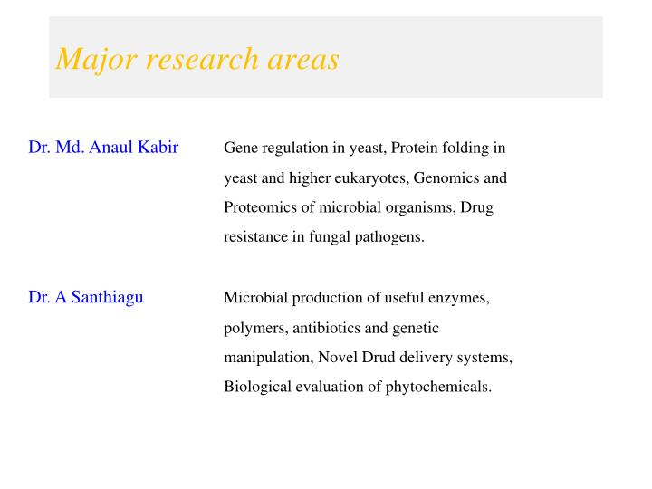 Major research areas