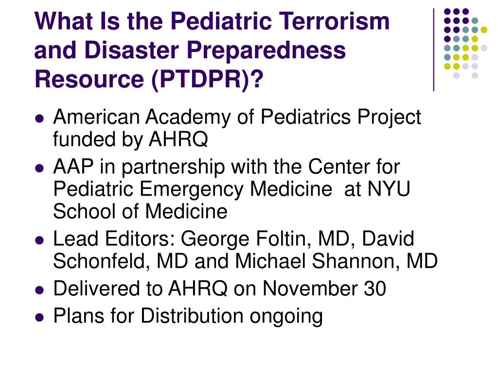 What Is the Pediatric Terrorism and Disaster Preparedness Resource (PTDPR)?