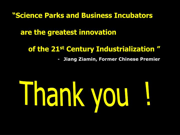"""Science Parks and Business Incubators"