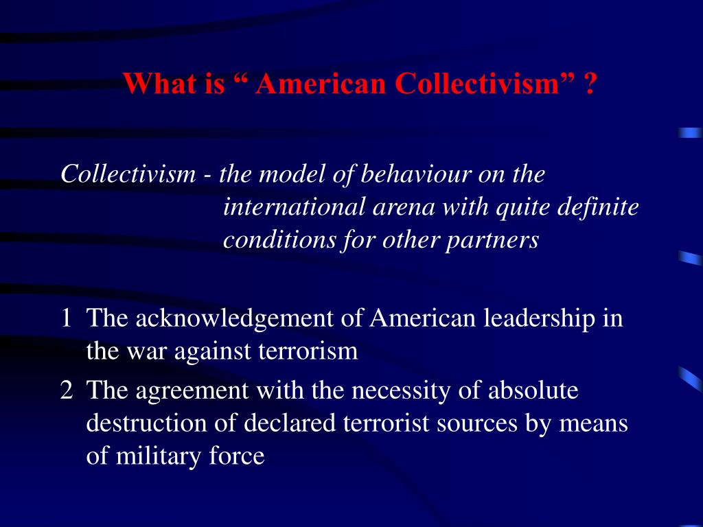 """What is """" American Collectivism"""" ?"""