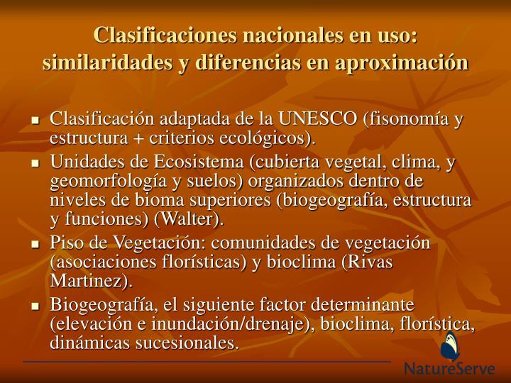 Clasificaciones nacionales en uso: similaridades y diferencias en aproximación