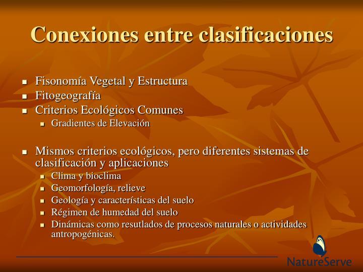 Conexiones entre clasificaciones