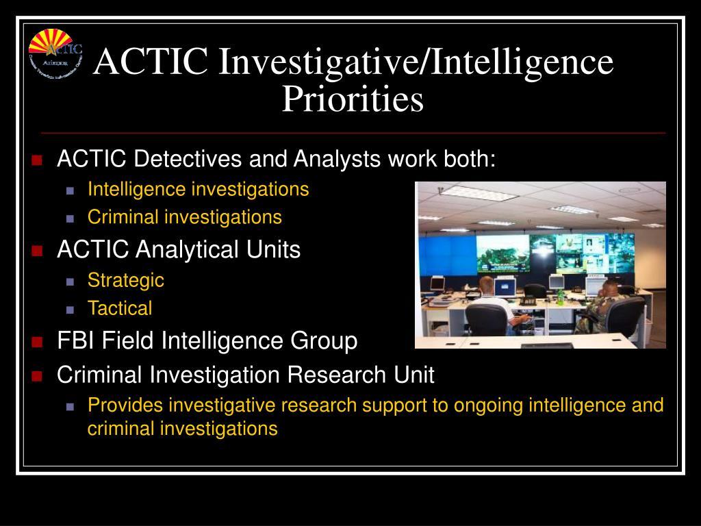 ACTIC Investigative/Intelligence Priorities