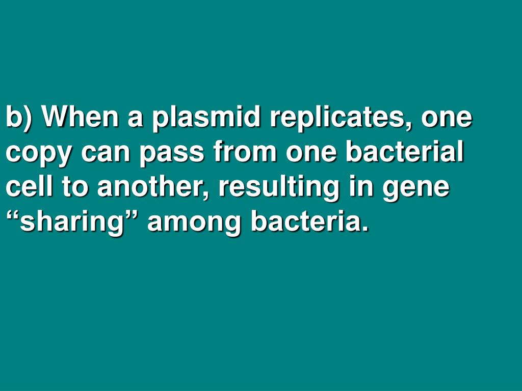 "b) When a plasmid replicates, one copy can pass from one bacterial cell to another, resulting in gene ""sharing"" among bacteria."