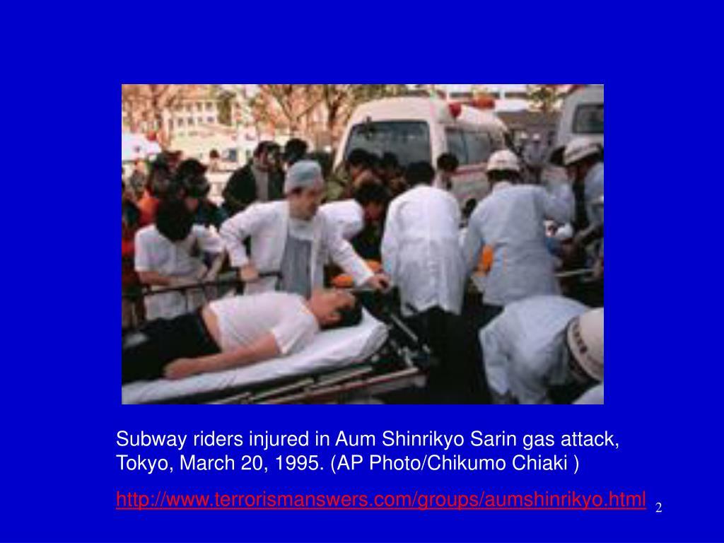 Subway riders injured in Aum Shinrikyo Sarin gas attack,