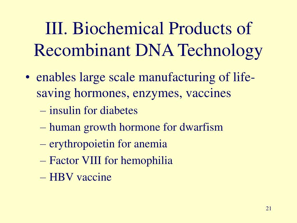 III. Biochemical Products of Recombinant DNA Technology