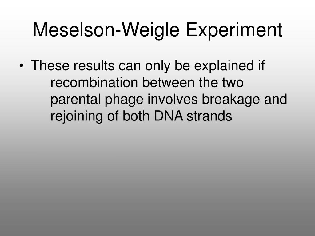 Meselson-Weigle Experiment