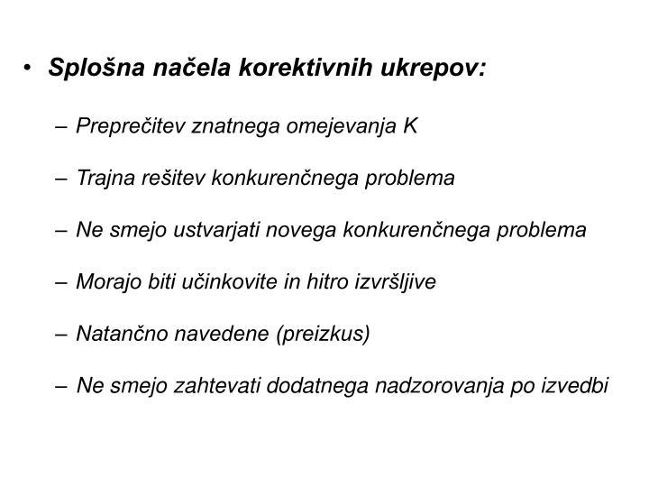 Splošna načela korektivnih ukrepov:
