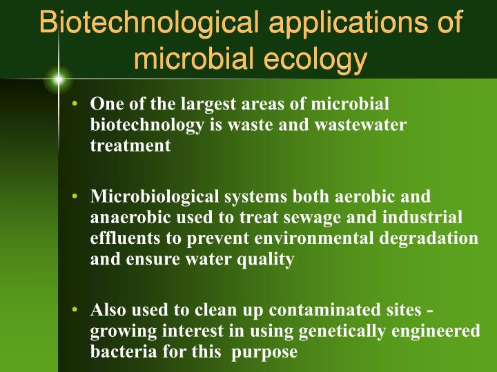 Biotechnological applications of microbial ecology l.jpg