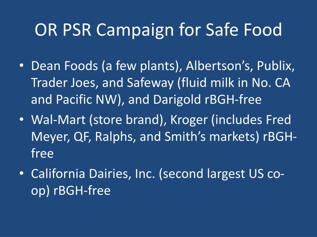 OR PSR Campaign for Safe Food